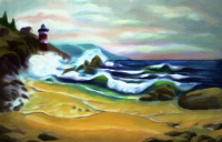 Lighthouse, Storm, waves